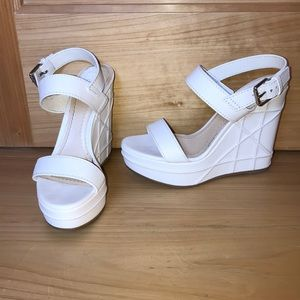 Christian Dior White Leather Wedge Heel